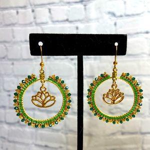 Boho Lotus Flower Green Hoop Beaded Earrings